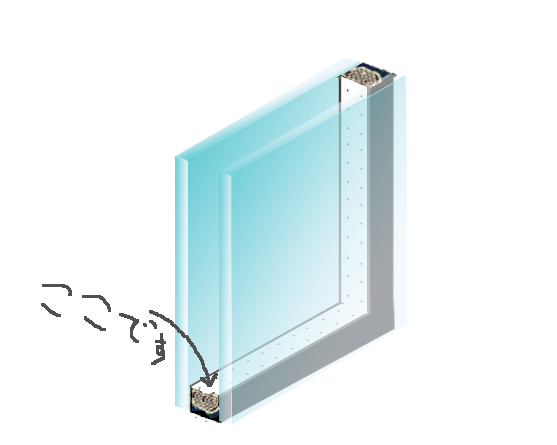 ペアガラスの銀色の所